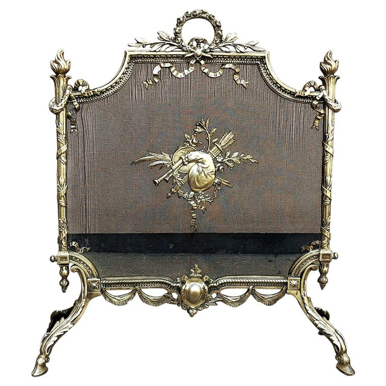 19th Century French Louis XVI Bronze Fire Screen For Sale