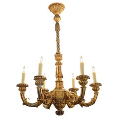 19th Century French Louis XVI Carved and Giltwood 6 Light Chandelier