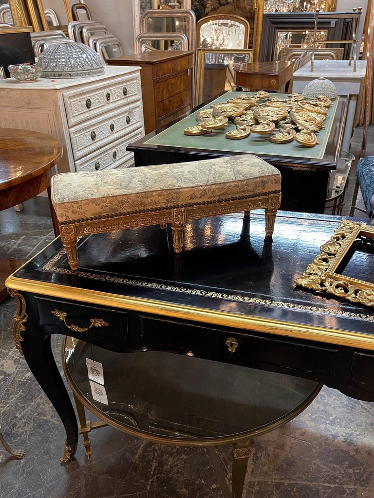 Lovely 19th century French Louis XVI carved and giltwood stool. Very fine carvings and beautiful upholstery. So pretty!!
