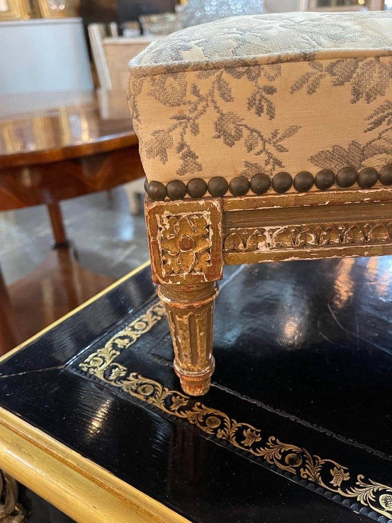 Upholstery 19th Century French Louis XVI Carved and Giltwood Stool For Sale