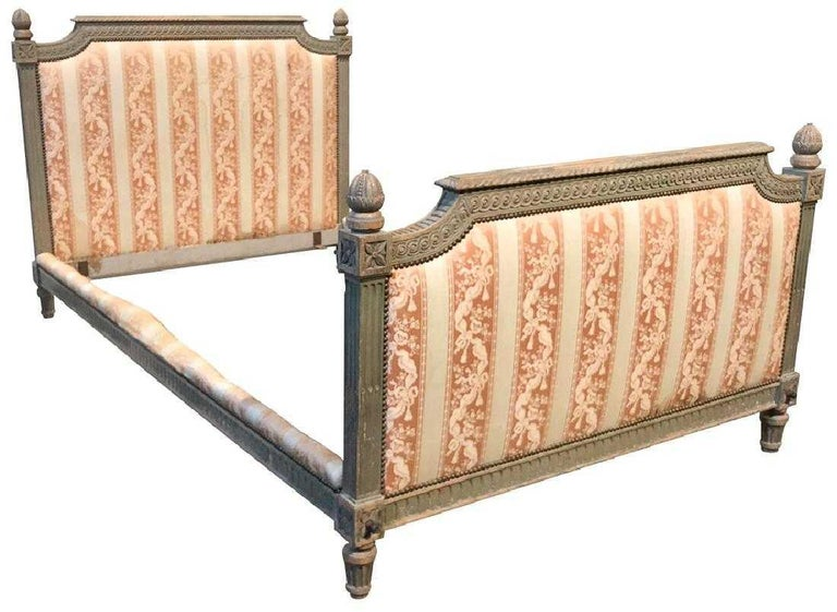 Upholstery 19th Century French Louis XVI Carved Bed For Sale