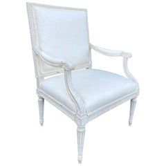 19th Century French Louis XVI Carved Fauteuil Chair with Custom Painted Finish