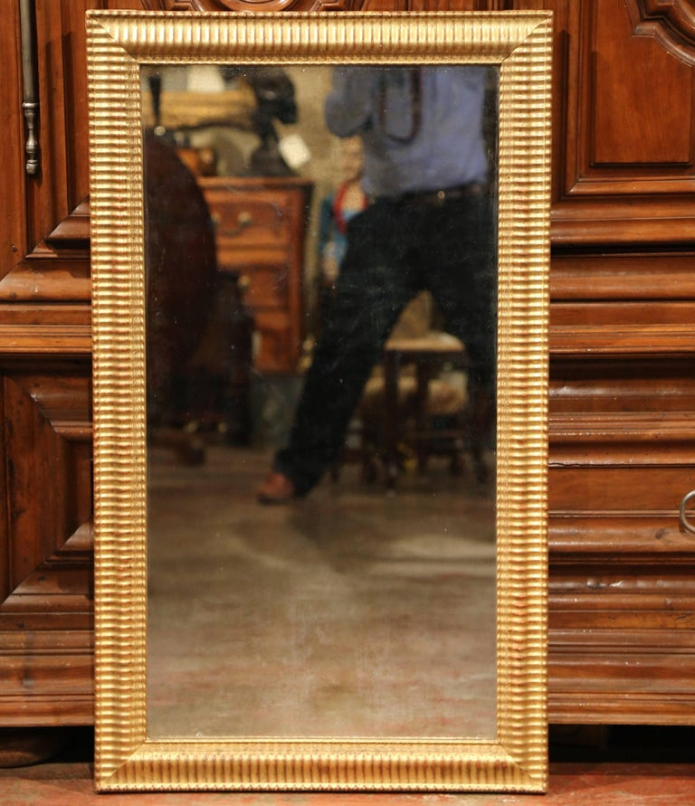 Mercury Glass 19th Century French Louis XVI Carved Giltwood Rectangular or Horizontal Mirror For Sale