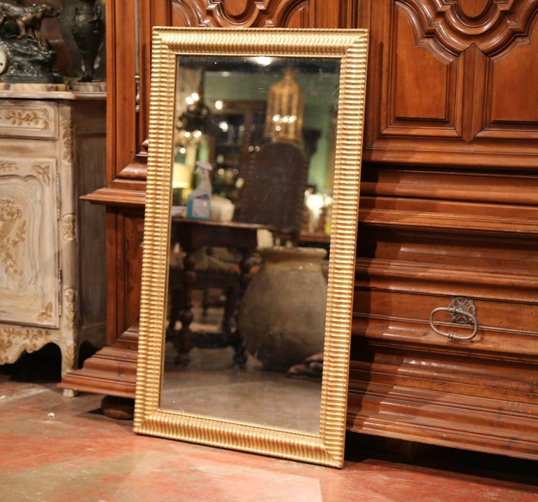 19th Century French Louis XVI Carved Giltwood Rectangular or Horizontal Mirror For Sale 1