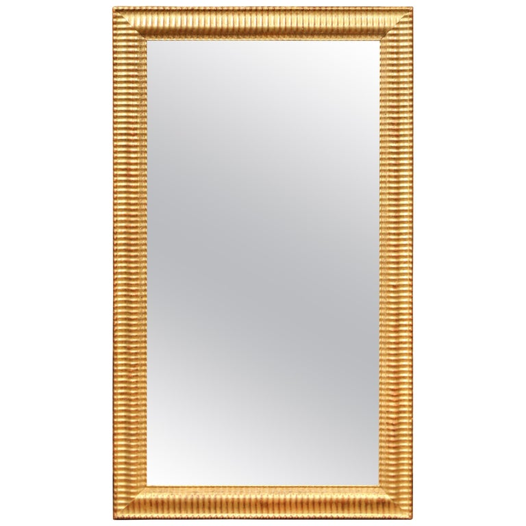19th Century French Louis XVI Carved Giltwood Rectangular or Horizontal Mirror For Sale