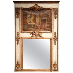 19th Century, French, Louis XVI Carved Painted and Gilt Wall Trumeau Mirror