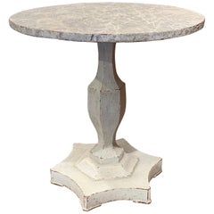 19th Century French Louis XVI Carved Painted Pedestal Table with Faux Marble Top
