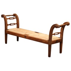 19th Century French Louis XVI Carved Walnut and Rush Daybed Settee Bench