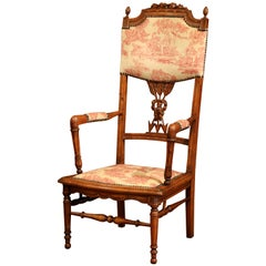 19th Century French Louis XVI Carved Walnut Chauffeuse Chair with Vintage Fabric