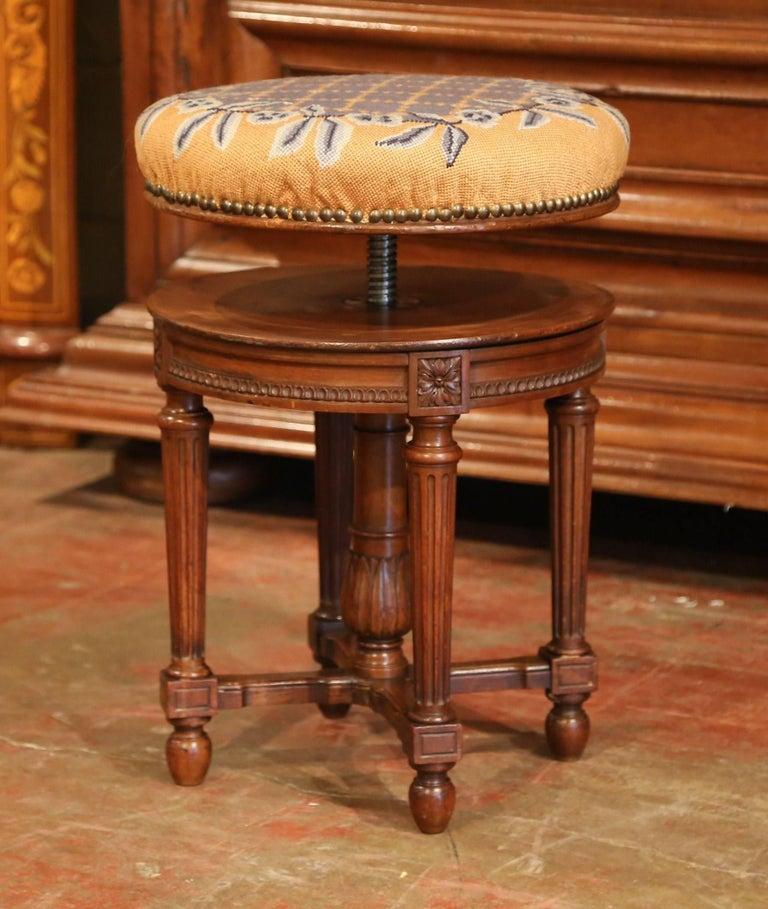 19th Century French Louis Xvi Carved Walnut Round
