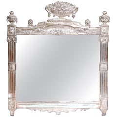 19th Century French Louis XVI Copper Silvered Repousse Mirror