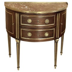 19th Century French Louis XVI Demilune Marble Top Commode, Console