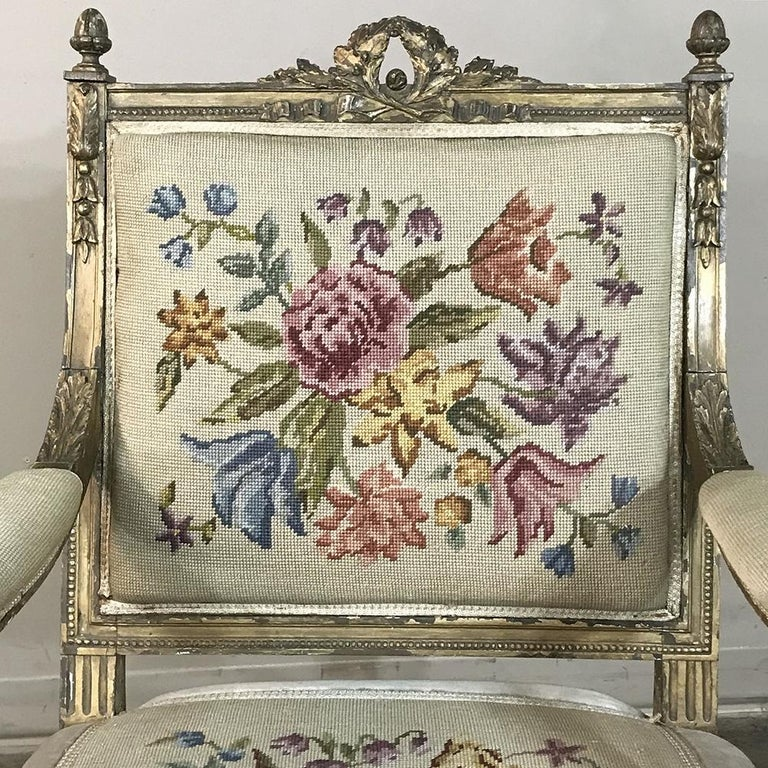 19th Century French Louis XVI Gilded Armchair For Sale 4