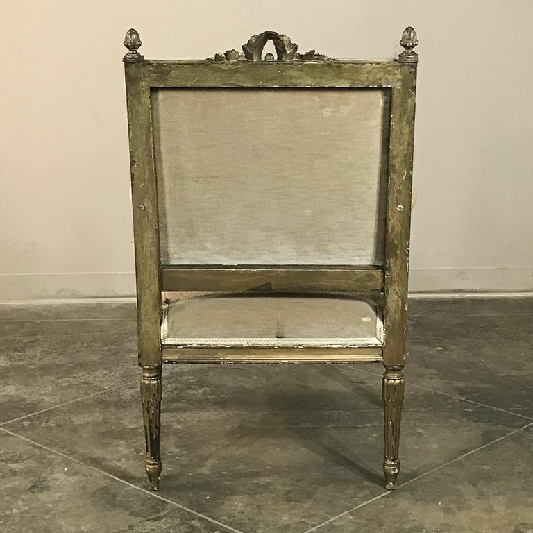 19th Century French Louis XVI Gilded Armchair For Sale 5