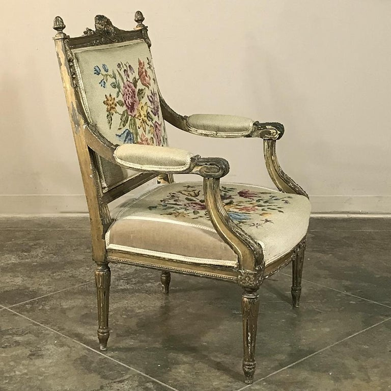 Hand-Carved 19th Century French Louis XVI Gilded Armchair For Sale