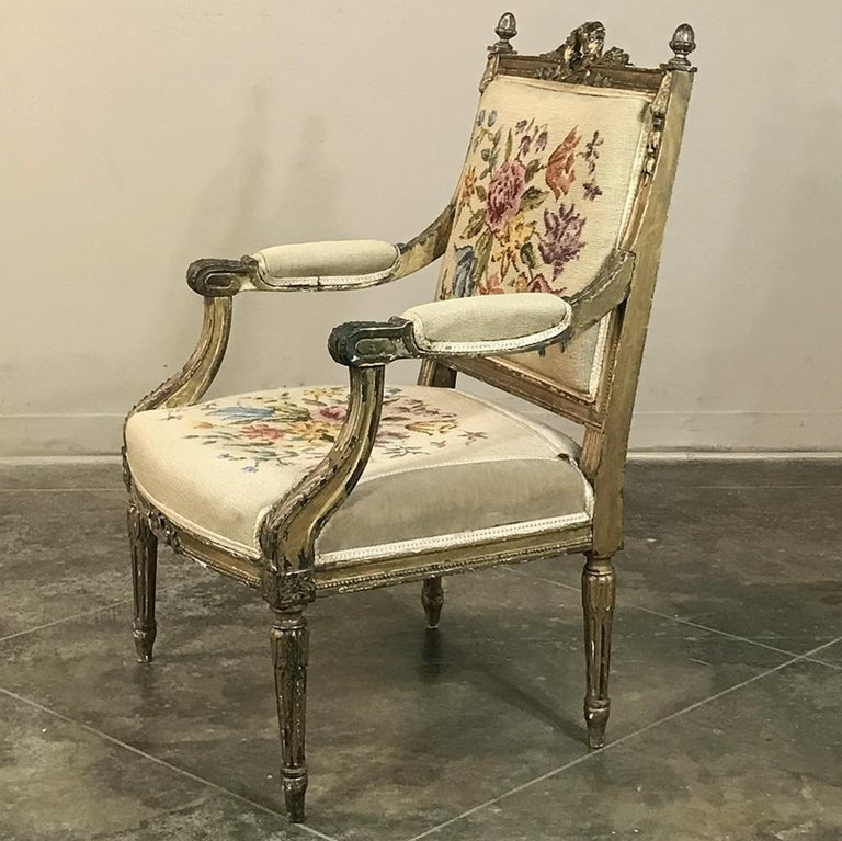 19th Century French Louis XVI Gilded Armchair In Good Condition For Sale In Dallas, TX