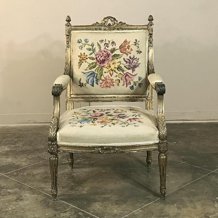 Late 19th Century 19th Century French Louis XVI Gilded Armchair For Sale
