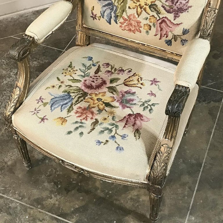 Giltwood 19th Century French Louis XVI Gilded Armchair For Sale