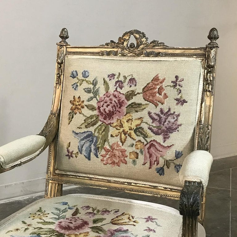 19th Century French Louis XVI Gilded Armchair For Sale 1