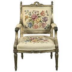 19th Century French Louis XVI Gilded Armchair