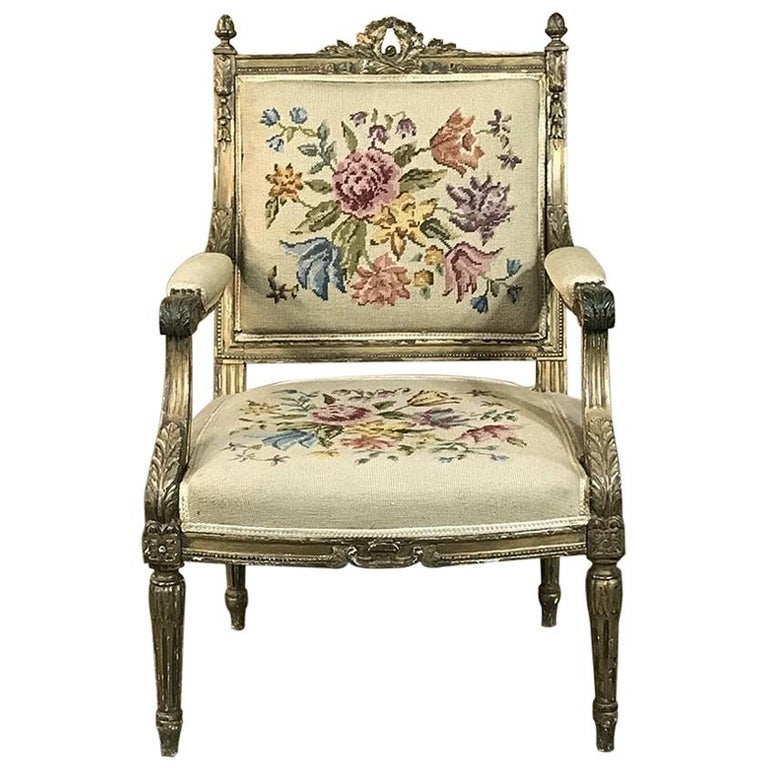 19th Century French Louis XVI Gilded Armchair For Sale
