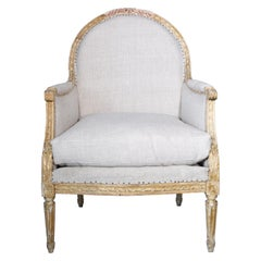 19th Century French Louis XVI Gilded Armchair, Origin France