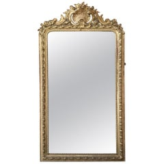 19th Century French Louis XVI Gilded Mirror from Napoleon III Period