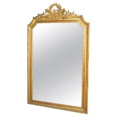19th Century French Louis XVI Gilt Dore Wood Mirror