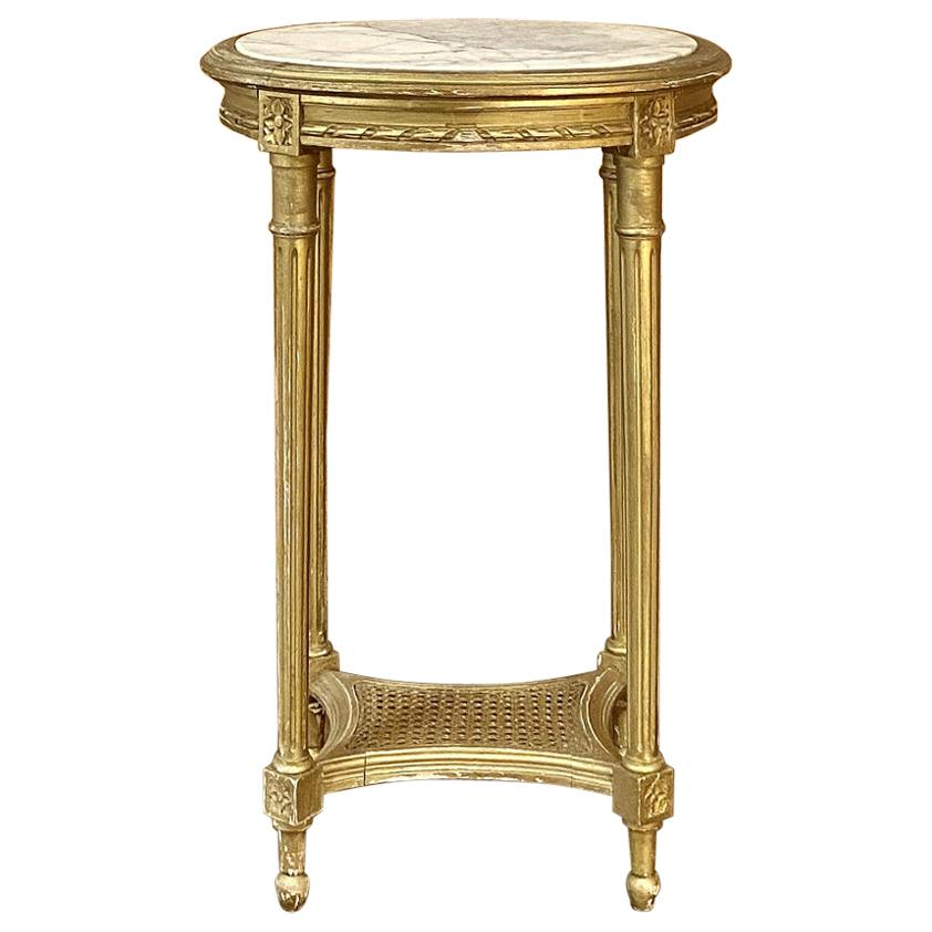 19th Century French Louis XVI Giltwood Marble-Top Oval End Table