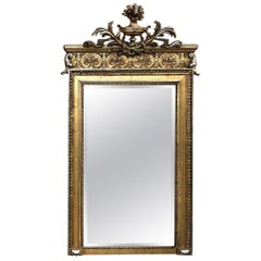 19th Century French Louis XVI Gold and Silver Neoclassical Mirror