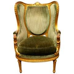 19th Century French Louis XVI Gold Leaf Armchair