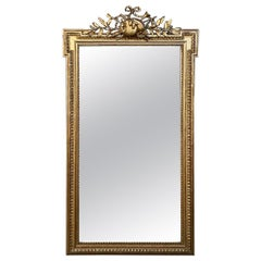 19th Century French Louis XVI Gold Leaf Mirror, circa 1860