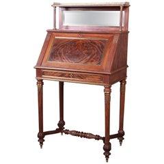 19th Century French Louis XVI Mahogany and Brass Slant Front Secretary Desk