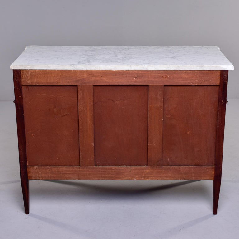 19th Century French Louis XVI Mahogany Four Drawer Commode with Marble Top For Sale 6