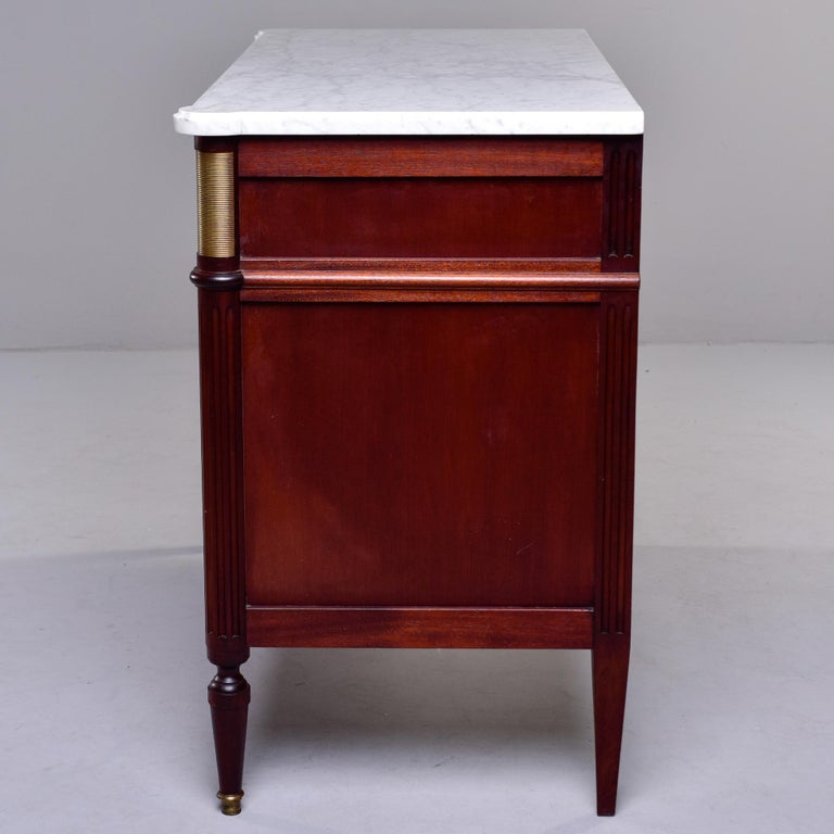19th Century French Louis XVI Mahogany Four Drawer Commode with Marble Top For Sale 7