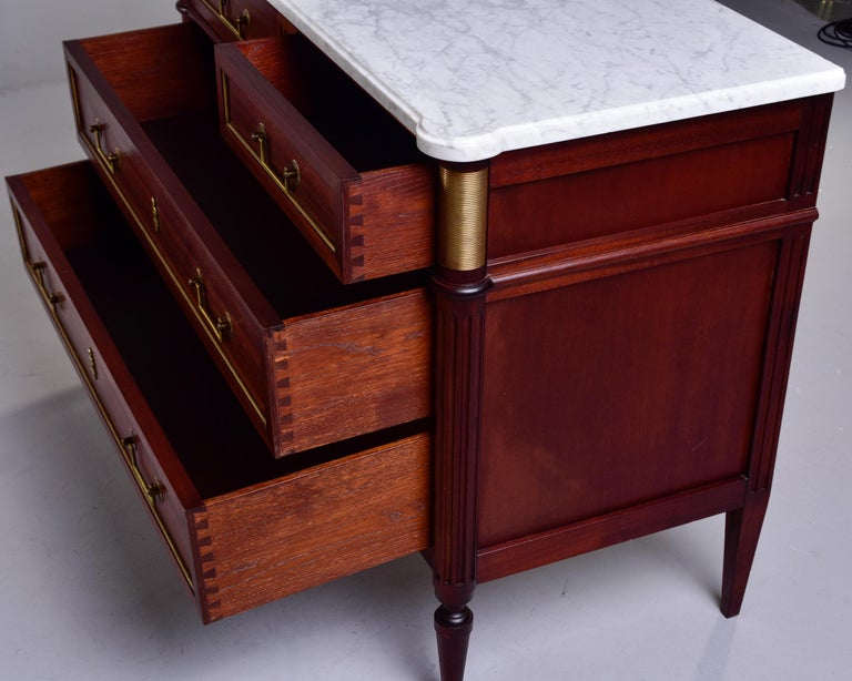 19th Century French Louis XVI Mahogany Four Drawer Commode with Marble Top For Sale 8