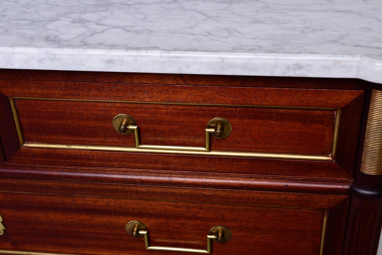 19th Century French Louis XVI Mahogany Four Drawer Commode with Marble Top In Good Condition For Sale In Troy, MI