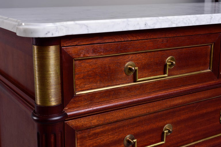 Brass 19th Century French Louis XVI Mahogany Four Drawer Commode with Marble Top For Sale