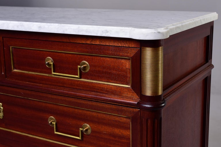 19th Century French Louis XVI Mahogany Four Drawer Commode with Marble Top For Sale 2