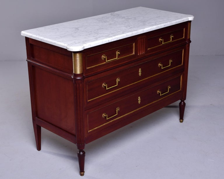 19th Century French Louis XVI Mahogany Four Drawer Commode with Marble Top For Sale 3
