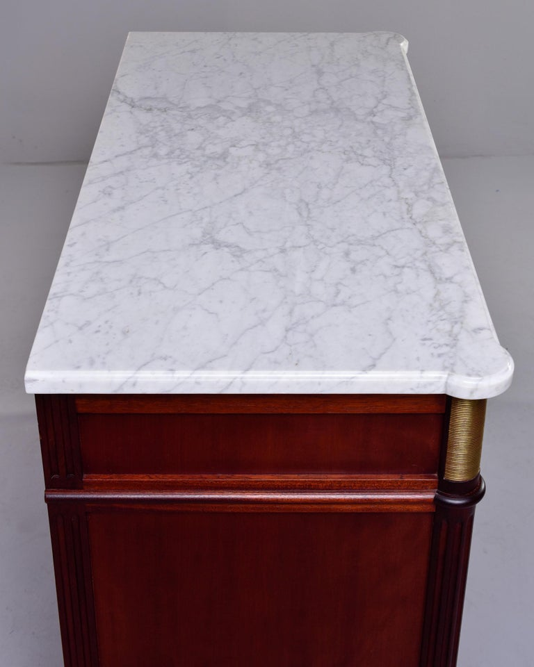 19th Century French Louis XVI Mahogany Four Drawer Commode with Marble Top For Sale 4
