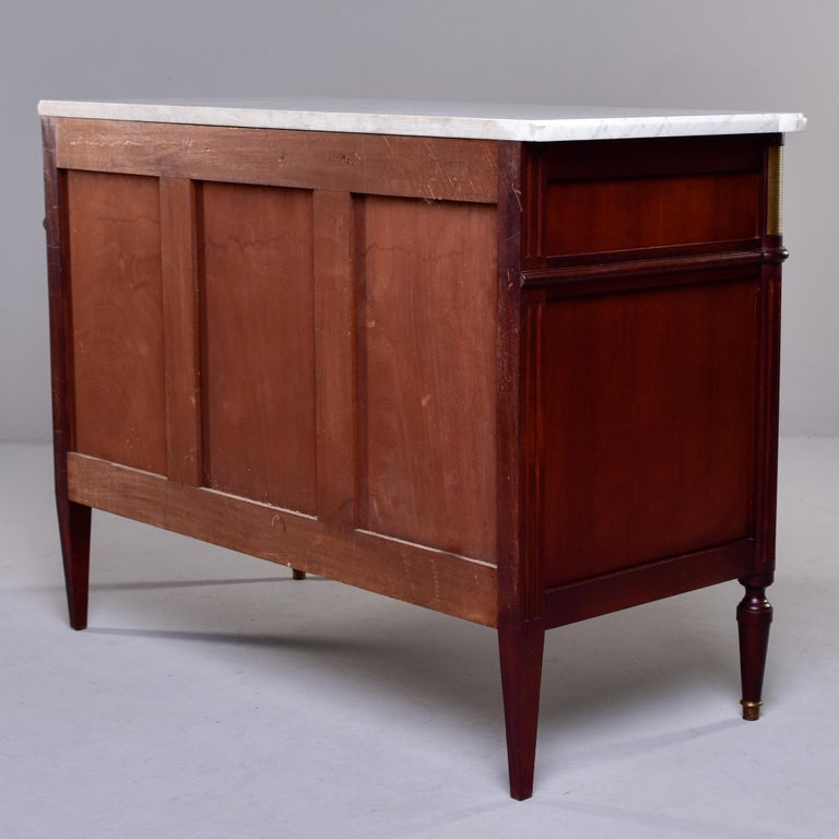 19th Century French Louis XVI Mahogany Four Drawer Commode with Marble Top For Sale 5