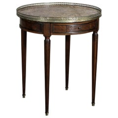 19th Century French Louis XVI Mahogany Marble-Top Bouillotte End Table
