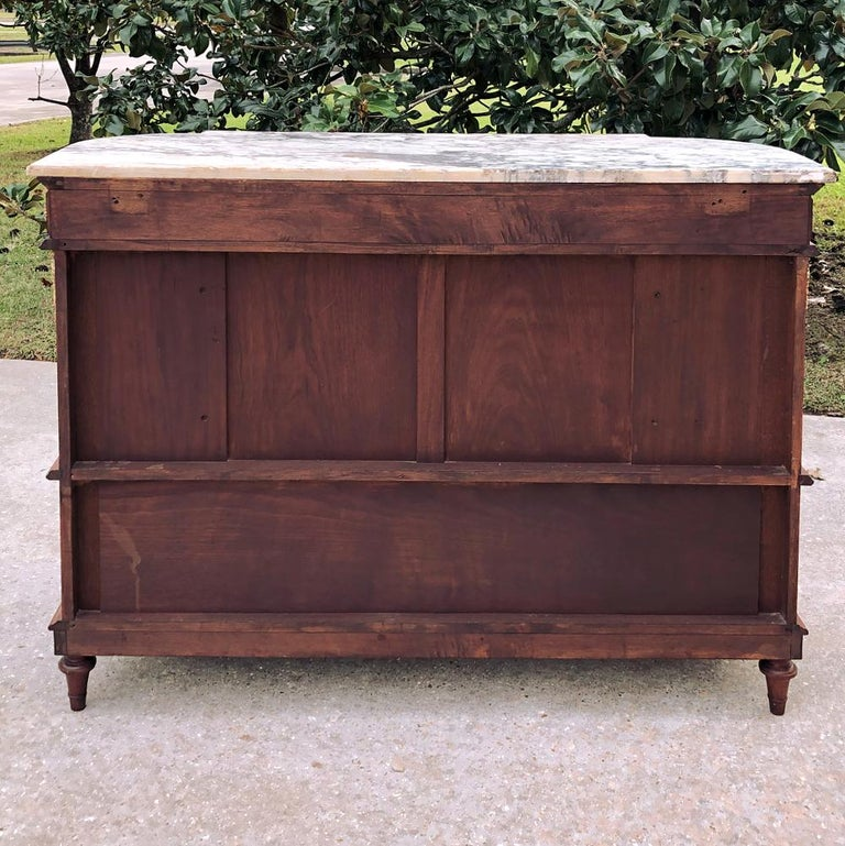19th Century French Louis XVI Mahogany Marquetry Marble Top Buffet For Sale 7