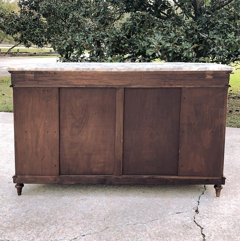 19th Century French Louis XVI Mahogany Marquetry Marble-Top Buffet For Sale 8