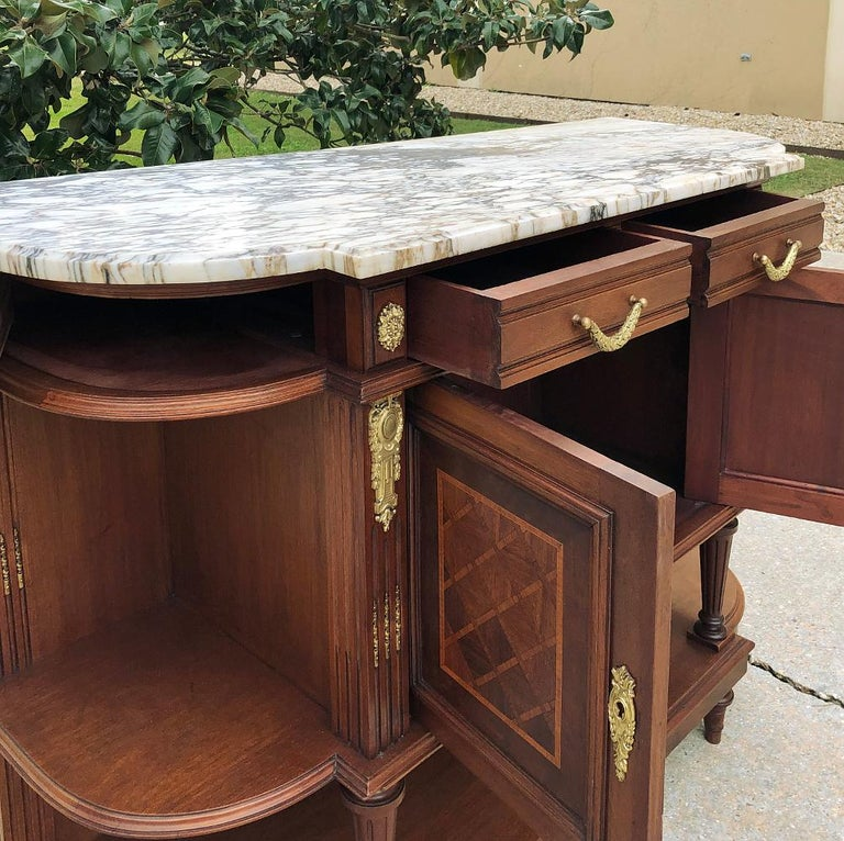 19th Century French Louis XVI Mahogany Marquetry Marble Top Buffet For Sale 2