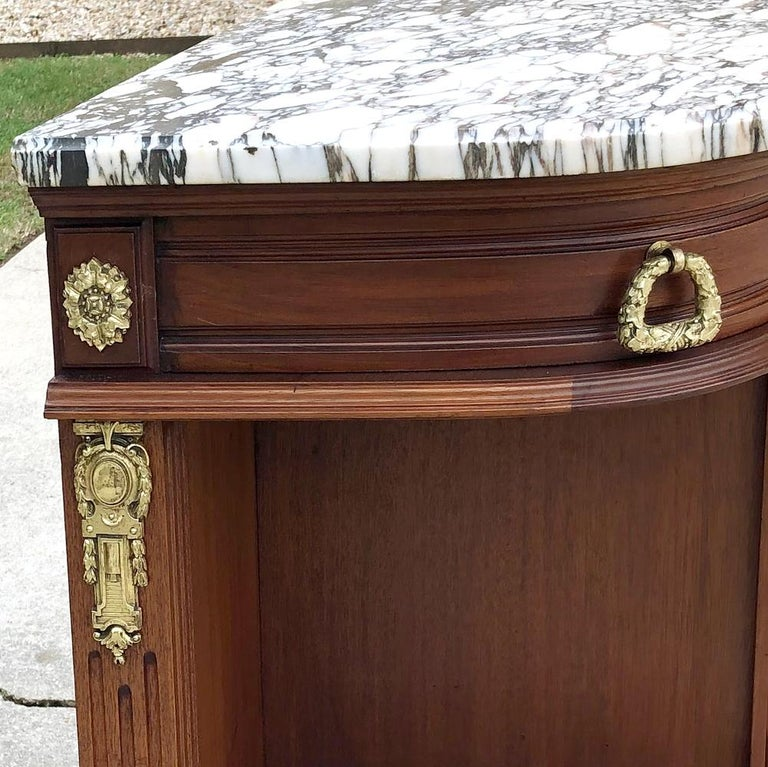 19th Century French Louis XVI Mahogany Marquetry Marble Top Buffet For Sale 3