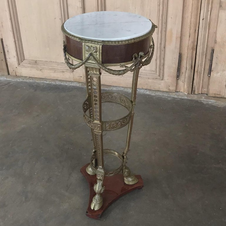 19th Century French Louis XVI Marble Top Brass Pedestal For Sale 6
