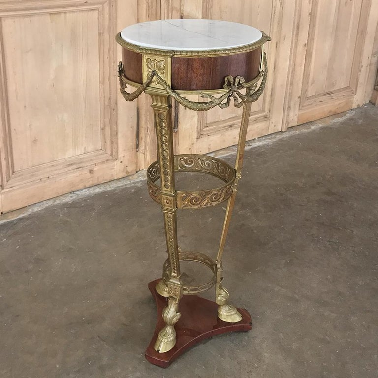 Hand-Crafted 19th Century French Louis XVI Marble Top Brass Pedestal For Sale