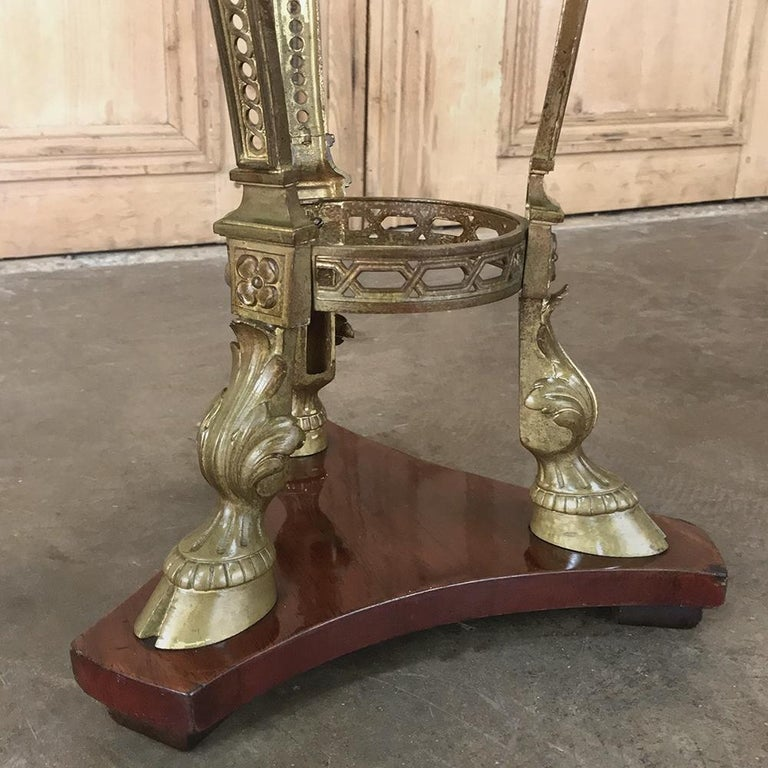 19th Century French Louis XVI Marble Top Brass Pedestal For Sale 1